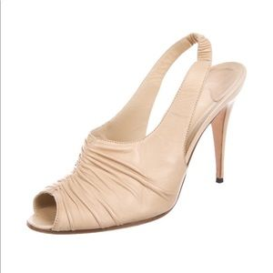 Manolo Blahnik Nude Leather Slingback Sandals